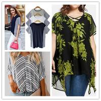 Frauen doppelte Schicht Chiffon Hemden 5XL Sommer Designer-Kreuz-Blumendruck unregelmäßige lose Tees Frauen Plus Size Mode beiläufige Kleidung