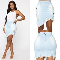 Fashion Denim Skirts Solid Color Hole Slim Ladies Clothes Tassel Skrits for Woman Summer Womens