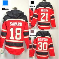 2016 Nouveau Hoodie Cheap # 18 Denis Savard 21 Stan Mikita # 30 Ed Belfour Old Time Hockey Jersey Sweats à capuche Sweat-shirt taille S-3XL