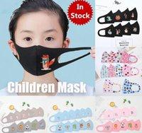 Máscaras Stock PM2.5 Crianças antipoluição Rapazes Meninas dos desenhos animados da cara Boca Máscaras crianças anti-poeira respirável Earloop lavável reutilizáveis algodão
