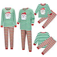 Christmas Family Pyjamas Ensemble Mère Père Enfants Associant Homewear Santas Pantalons à rayures imprimées Red Green Family Wightwear