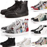 2020 Yeni Erkek Kırmızı Dipleri Ayakkabı Spike Süet Deri Erkek Kadın Düz Moda Rahat Ayakkabılar Parti Severler Sneakers 36-47 Kutusu Ile