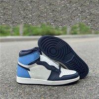 Новый релиз Brand High OG 1 Sail Obsidian университет синий UNC Basketball обувь мужские спортивные кроссовки