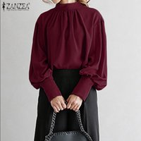2020 Fashion ZANZEA Women Puff Sleeve Stand Collar Blouse La...