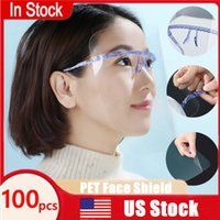 US Shipping Goggles Protective Mask With Film Anti Oil Splash Full Face Shield Cover With Glasses Holder Transparent Glasses Mask