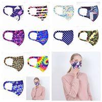 Máscaras impresa boca lavable a prueba de polvo máscara de impresión leopardo camuflaje boca cara Máscaras Máscaras de diseño a cuadros florales 11styles 100 piezas RRA3346