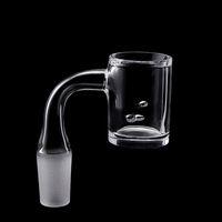New 4mm Löschen Bottom abgeschrägte Kante Frosted Joint Quarz Banger mit 2 Stück Löcher 10mm 14mm 18mm für Glas Wasser Bong Dab Rigs Spinning
