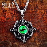 Beier 316L stainless high quality viking Pattern cross pendant necklacet for Men Amulet Green zircon fashion Jewelry LHP086