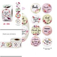 Gracias las etiquetas engomadas mini auto-adhesivo de la etiqueta engomada Flores Caja de regalo de DIY Etiqueta Brithday Partido Multicolor Decoración 25mm 500pcs 2 2jk D2