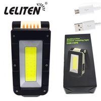 Lanterne portatili COB + XPE Torch LED Torch USB ricaricabile e bianco Lanterna a magnete a magnete luminosa a luce rossa e bianca + batteria integrata