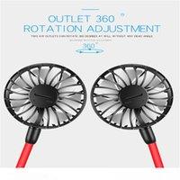 2020 Un ventilador portátil colgado del cuello del ventilador USB recargable banda para el cuello Lazy Cuello Manos Libre suspensión dual de refrigeración mini ventilador Sport 360 grados de rotación