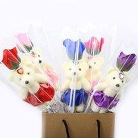 장식 꽃 화 환 1pcs 향기로운 목욕 비누 로즈 곰 꽃 꽃잎 발렌타인 데이에 대 한 선물 상자와 어머니 교사의