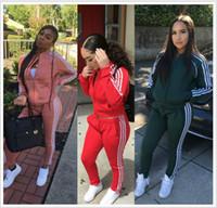 2020 Kadınlar İki Parçalı Set Spor Takım Elbise Kadın Tops Yüksek Bel Uzun Pantolon 2 Adet Mektup Baskılı Eşofman Moda İlkbahar Sonbahar Kadın Giyim