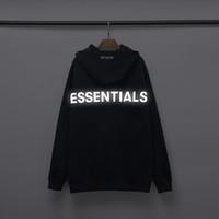 New FEAR OF GOD FOG Essentials-3M Reflective Männer-Frauen-Qualitäts Hoodies Brief Langarm-Kapuzenshirt Schwarz Weiß Herren Winter-Pullover