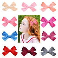 24Pcs Baby Girls 4. 5 Inch Solid Hair Bow Hairpin Hair Clip B...