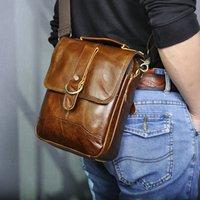 "Cuero auténtico macho manera ocasional del mensajero del totalizador del bolso de la taleguilla Diseño Crossbody de un hombro bolsa de 8"" Tablets bolsa para hombres 143-g"