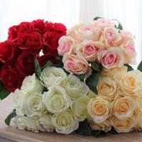 1 Buket 10pcs Yapay Red Rose Başkanları Çiçek Düğün Gelin İpek Buket doğum günü partisi Sevgililer Günü Ev Dekorasyon