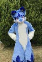 Uzun Kürk Husky Köpek Tilki Maskot Kostüm Fursuit Cadılar Bayramı Takım Elbise