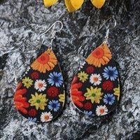 Neue Wasser-Tropfen-PU-Leder-Ohrringe Printed Sonnenblume Teardrop-Charme-Anhänger Eardrop-Ohr-Haken-Ohrring für Frauen Schmuck Geschenke