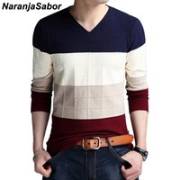 NaranjaSabor Autumn Winter Wool Pullover Men 2020 Slim Knitted V-neck Sweater Men Casual Fashion Striped Brand Clothing N533