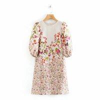 2020 neue Frauen-elegante Blumendruck beiläufige gerade Minikleid Weibliche o Hals Laterne Hülse Vestidos Chic Partei Kleider DS3442