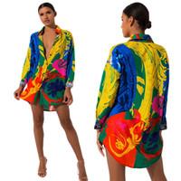 Damenhemden Kleider Krawatte Farbstoff Sommer Neue Mode Lose Regenbogen Farben Blusen Lässig Atmungsaktives sexy Kleid