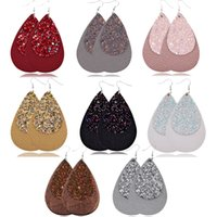 PU Leather Earring Fashion Glitter Teardrop PU Leather Sequi...
