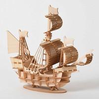 Découpe laser bricolage à voiles Jouets Assemblée Jouet 3D Puzzle en bois modèle bois Ensembles de bricolage bureau Décoration pour les enfants Enfants 32bm #