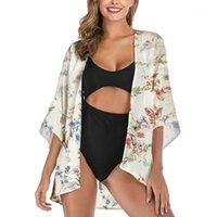 Giyim Çiçek Hırka Güneş kremi Gömlek Moda Gevşek Yaz Yarım Kol Tasarımcı Coats Yeni Kontrast Renk Casual Kadınlar