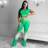 Womens Designer Survêtements d'été à manches courtes T-shirt Stacked Pantalon Costume Casual Dégradé de couleur Sport 2 PCS Set
