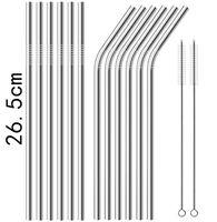 New 26,5 centímetros de aço inoxidável palha palhas retas Palhinha de Beber retas e curvas Straw frete grátis