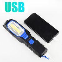 Lanterne portatili Led Cob Lampada da lavoro Lampada magnetica USB ricaricabile Torch di emergenza Torch Lanterna Spotlight