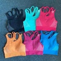 Çok Renkli Dikişsiz Yoga Sütyen Kadın Spor Kırpılmış En yastıklı Push Up Spor Bra Gym Brasseire Femme Egzersiz Aktif Giyim