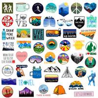 50pcs Açık Yürüyüş Kamp Macera Doğa Çıkartma Paketi Araba Bisiklet Bagaj Sticker Laptop Kaykay Motor Su Şişesi Çıkartması