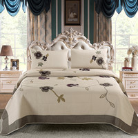 Handmade gestickte Quilts Luxus Kakhi Baumwollbettdecke amerikanischen Europa Bedspread Set Kingsize Bettbezug Bettdecken Bedsheet Bettwäsche-Sets