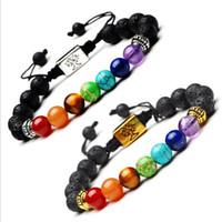 Yoga hecho a mano 7 Chakra árbol de la vida del encanto de las pulseras de lava Piedras Beads cuerda pulsera de piedra volcánica Negro GD413
