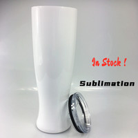 DIY Sublimation 30oz White Pilsner Tumbler with Lid Stainles...