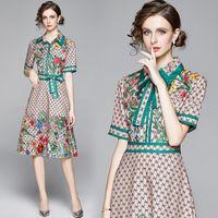Yeni Yaz Pist Vintage Baskı Yaka Fiyonk Yaka Kısa Kollu Düğmesi Ön Kadınlar Bayanlar Casual Parti Plaj Şık A-Line Midi Elbise