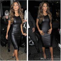 Yaz Bayan Elbise Siyah Sahte Deri Bodycon Elbiseler Rahat Dudaklar Baskılı Ince Moda Kadın Giyim