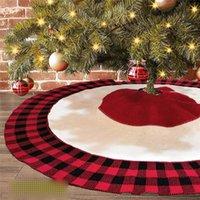 Griglia rossa lavorata a maglia Albero gonna Xmas Trees Grembiule High-End a maglia nero albero di Natale gonna grembiule Decorazione albero di Natale ornamenti all'ingrosso