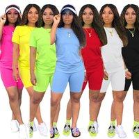 Las mujeres juego de 2 piezas chándal camisetas + traje pantalón corto del basculador Trajes sólidas del tamaño del verano ocasionales de Cothes Sweatsuit Moda Ropa de deporte S-2XL