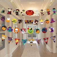 1PC 3M Papierkette Garland Banner-Kürbis-Schläger Spinne Fahnen Bunting Halloween Dekoration Garland Banner Outdoor-Party Supplies