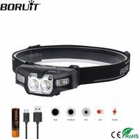 BORUiT B30 LED IR استشعار الحركة البسيطة للمصابيح الأمامية 2 * XP G2 + 2 * 3030 الأحمر 5-الوضع العلوي رئيس القابلة لإعادة الشحن الشعلة الصيد الخفيفة lEGW #