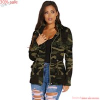 Casual Bomber Coats for Women Green camo Long Hoodie Zipper Women Pockets Hooded Trench Coat Zipper Long Sleeve Outwear