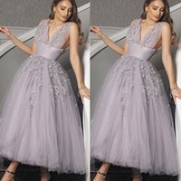 2020 Modern Deep V Neck Ankle Length Prom Dresses A Line Lace Appliques Ruched Tulle Skirt Formal Evening Party Gowns
