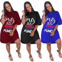 여성 여성 여름 느슨한 드레스 고체 전체 패션 Elegent 롱 T 셔츠 D71612에 대한 GIRLS JUST WANNA HAVE 기금 편지 특대 드레스