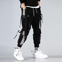Мода Мужчины Ленты Цвет Блок Черные Карманные Брюки Грузовые Брюки 2020 Журналы Harajuku Вспомогательные Ущистые Брюки Брюки Мужские Спортивные штаны