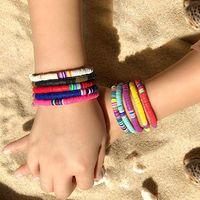 Браслет из бисера ручной работы из бисера ручной работы красочные полимерные глины дисковые бусины браслеты Boho Surf Stateable растягивают браслет браслетов для женщин девушка