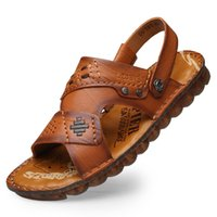 Men Sandals Slippers Genuine Leather Cowhide Male Summer Sho...
