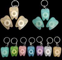 Regalos de seda Llavero del favor de la Clínica Dental sorteos Mini seda dental con dientes en forma de caja 15 Medidor 16 astillero gratuito